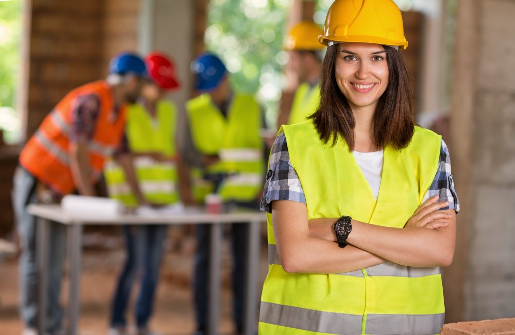 Woman with construction crew